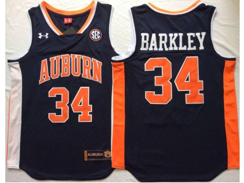 Mens Ncaa Nba Auburn Tigers #34 Barkley Dark Blue Jersey