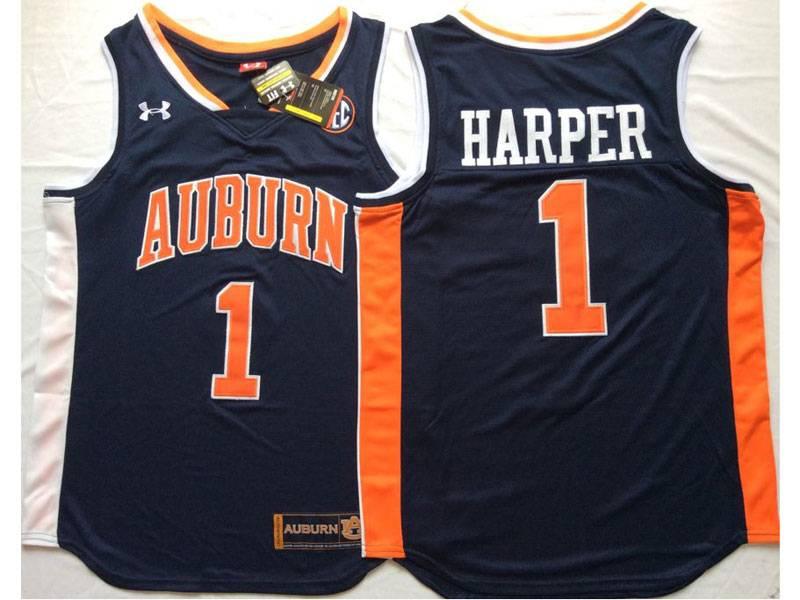 Mens Ncaa Nba Auburn Tigers #1 Harper Wn Dark Blue Jersey