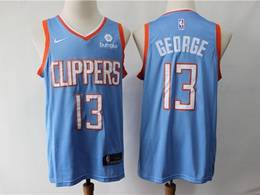 Mens 2019 Nba Los Angeles Clippers #13 Paul George Light Blue City Edition Swingman Jersey