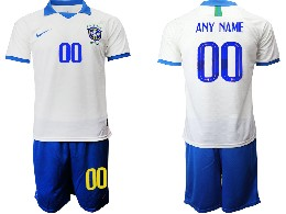 Mens 19-20 Soccer Brazil National Team ( Custom Made ) White Nike Short Sleeve Suit Jersey