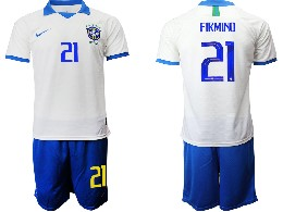 Mens 19-20 Soccer Brazil National Team #21 Firmino White Nike Short Sleeve Suit Jersey
