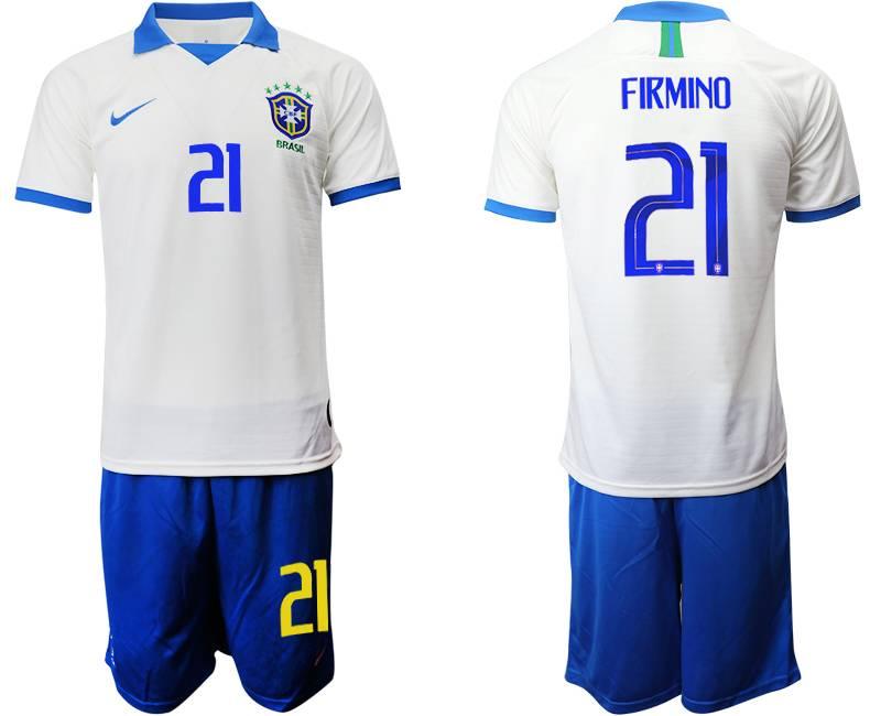 Mens 19-20 Soccer Brazil National Team #21 Firmino White Nike Short Sleeve Suit Jersey
