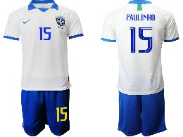 Mens 19-20 Soccer Brazil National Team #15 Paulinho White Nike Short Sleeve Suit Jersey