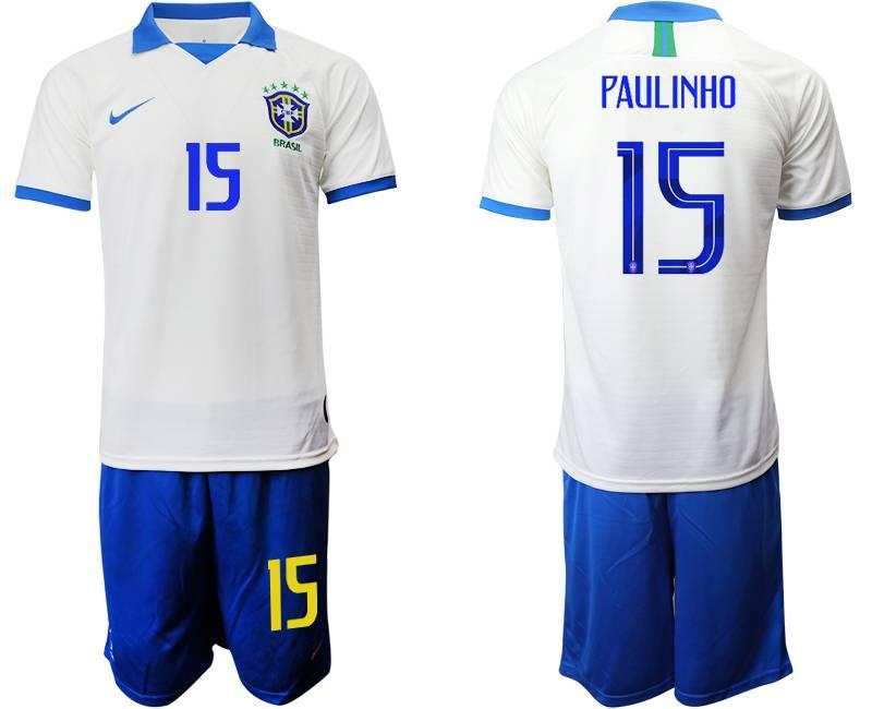Mens 19-20 Soccer Brazil National Team #15 Paulinho White Nike Short Sleeve Suit Jersey