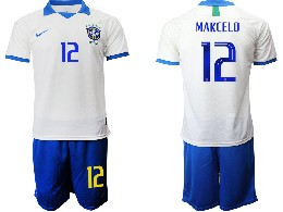 Mens 19-20 Soccer Brazil National Team #12 Marcelo White Nike Short Sleeve Suit Jersey