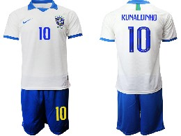 Mens 19-20 Soccer Brazil National Team #10 Ronaldinho White Nike Short Sleeve Suit Jersey
