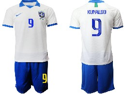 Mens 19-20 Soccer Brazil National Team #9 Ronaldo White Nike Short Sleeve Suit Jersey