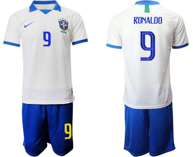 Mens 19-20 Soccer Brazil National Team #9 Ronaldo White Nike Short Sleeve Suit Jersey
