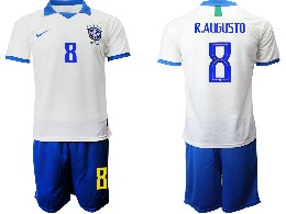 Mens 19-20 Soccer Brazil National Team #8 R.augusto White Nike Short Sleeve Suit Jersey