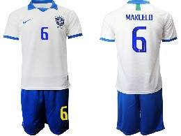 Mens 19-20 Soccer Brazil National Team #6 Marcelo White Nike Short Sleeve Suit Jersey