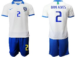 Mens 19-20 Soccer Brazil National Team #2 Dani Alves White Nike Short Sleeve Suit Jersey