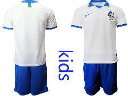 Youth 19-20 Soccer Brazil National Team ( Blank ) White Nike Short Sleeve Suit Jersey