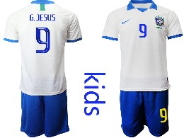 Youth 19-20 Soccer Brazil National Team #9 G.jesus White Nike Short Sleeve Suit Jersey