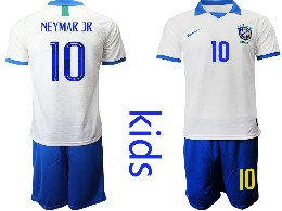 Youth 19-20 Soccer Brazil National Team #10 Neymar Jr White Nike Short Sleeve Suit Jersey