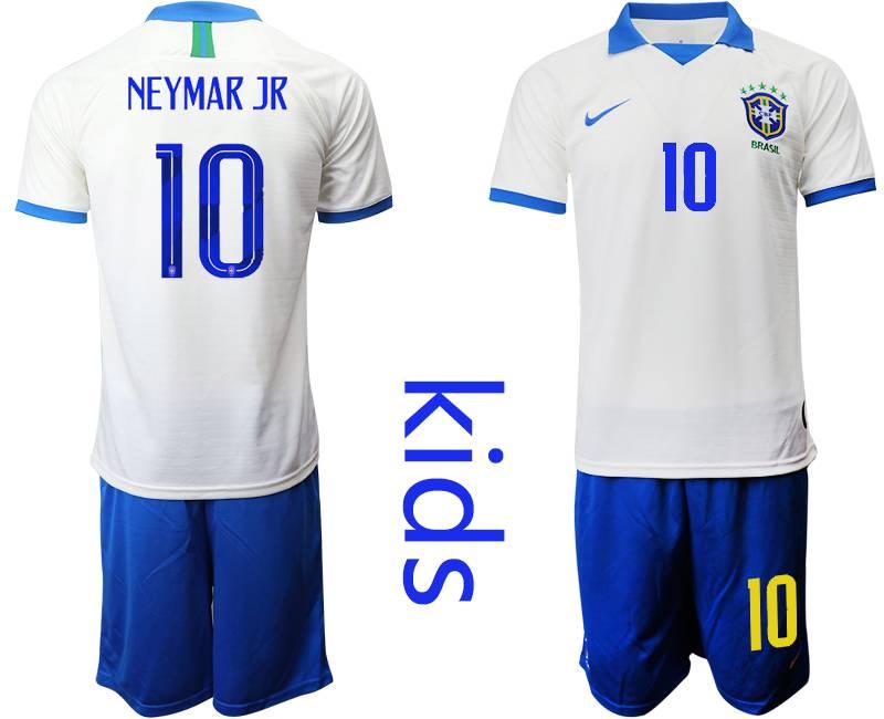 Youth 19-20 Soccer Brazil National Team #10 Neymar Jr White Nike Short Sleeve Suit Jersey