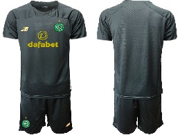 Mens 19-20 Soccer Celtic Club ( Custom Made ) Black Goalkeeper Short Sleeve Suit Jersey