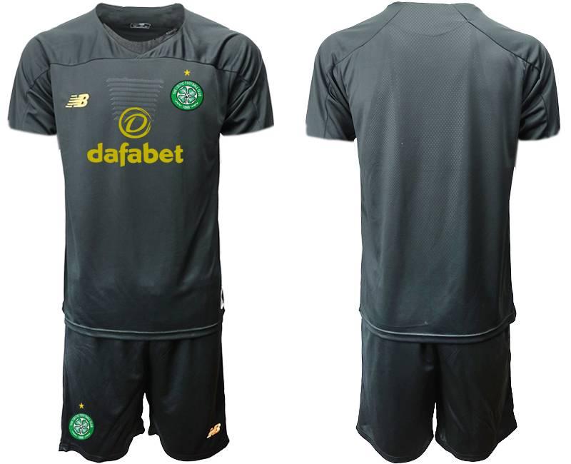 Mens 19-20 Soccer Celtic Club ( Custom Made ) Black Goalkeeper Short Sleeve Suit Jersey