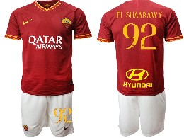 Mens 19-20 Soccer As Roma Club #92 El Shaarawy Red Home Short Sleeve Suit Jersey