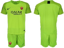 Mens 19-20 Soccer As Roma Club ( Custom Made ) Fluorescent Green Goalkeeper Short Sleeve Suit Jersey