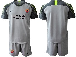Mens 19-20 Soccer As Roma Club ( Custom Made ) Gray Goalkeeper Short Sleeve Suit Jersey