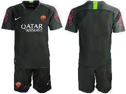 Mens 19-20 Soccer As Roma Club ( Custom Made ) Black Goalkeeper Short Sleeve Suit Jersey