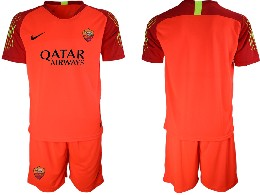 Mens 19-20 Soccer As Roma Club ( Custom Made ) Orange Goalkeeper Short Sleeve Suit Jersey