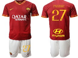 Mens 19-20 Soccer As Roma Club #27 Pastore Red Home Short Sleeve Suit Jersey