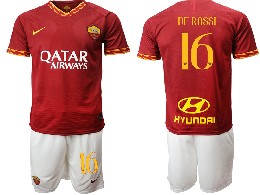 Mens 19-20 Soccer As Roma Club #16 De Rossi Red Home Short Sleeve Suit Jersey