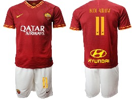 Mens 19-20 Soccer As Roma Club #11 Kolarov Red Home Short Sleeve Suit Jersey