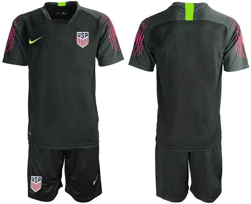 Mens 19-20 Soccer Usa National Team ( Custom Made ) Black Goalkeeper Short Sleeve Suit Jersey