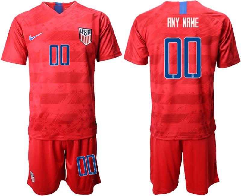 Mens 19-20 Soccer Usa National Team ( Custom Made ) Nike Red Away Short Sleeve Suit Jersey