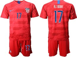 Mens 19-20 Soccer Usa National Team #17 Al Tidore Nike Red Away Short Sleeve Suit Jersey
