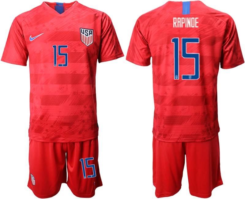 Mens 19-20 Soccer Usa National Team #15 Rapinoe Nike Red Away Short Sleeve Suit Jersey