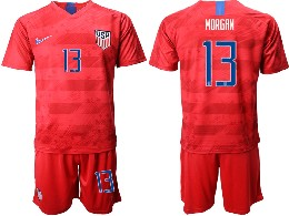 Mens 19-20 Soccer Usa National Team #13 Morgan Nike Red Away Short Sleeve Suit Jersey