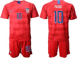 Mens 19-20 Soccer Usa National Team #10 Pulisic Nike Red Away Short Sleeve Suit Jersey