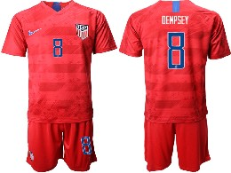 Mens 19-20 Soccer Usa National Team #8 Dempsey Nike Red Away Short Sleeve Suit Jersey