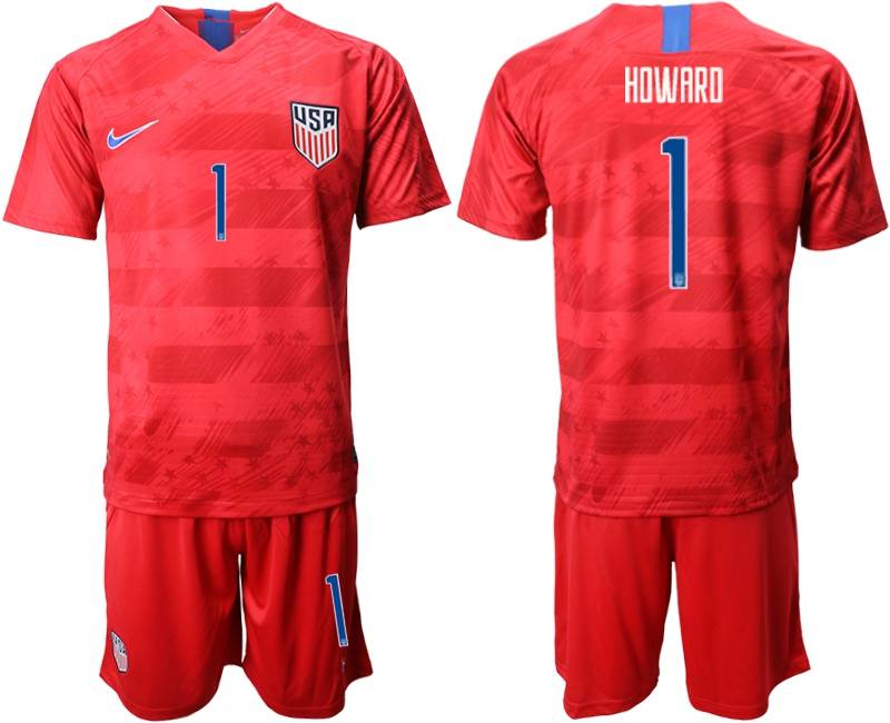 Mens 19-20 Soccer Usa National Team #1 Howard Nike Red Away Short Sleeve Suit Jersey