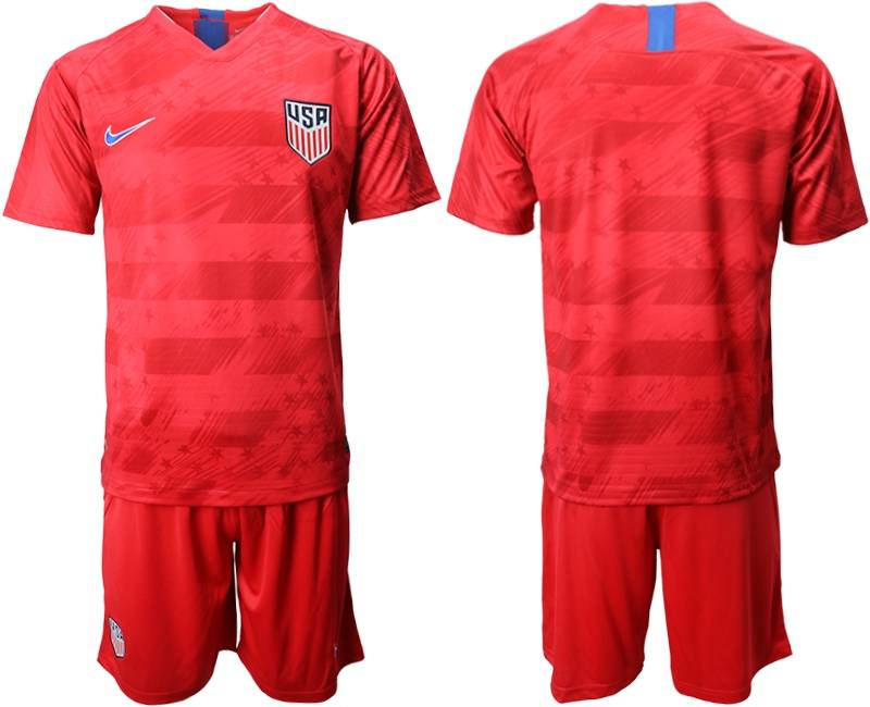 Mens 19-20 Soccer Usa National Team ( Blank ) Nike Red Away Short Sleeve Suit Jersey