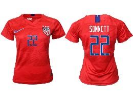Women 19-20 Soccer Usa National Team #22 Sonnett Red Away Short Sleeve Thailand Jersey