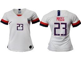 Women 19-20 Soccer Usa National Team #23 Press White Home Short Sleeve Thailand Jersey