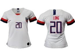 Women 19-20 Soccer Usa National Team #20 Long White Home Short Sleeve Thailand Jersey