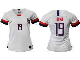 Women 19-20 Soccer Usa National Team #19 Dunn White Home Short Sleeve Thailand Jersey