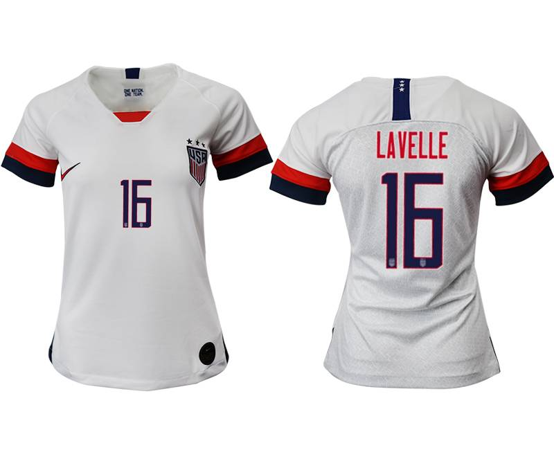 Women 19-20 Soccer Usa National Team #16 Lavelle White Home Short Sleeve Thailand Jersey