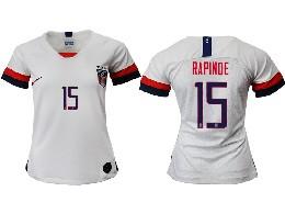 Women 19-20 Soccer Usa National Team #15 Rapinoe White Home Short Sleeve Thailand Jersey