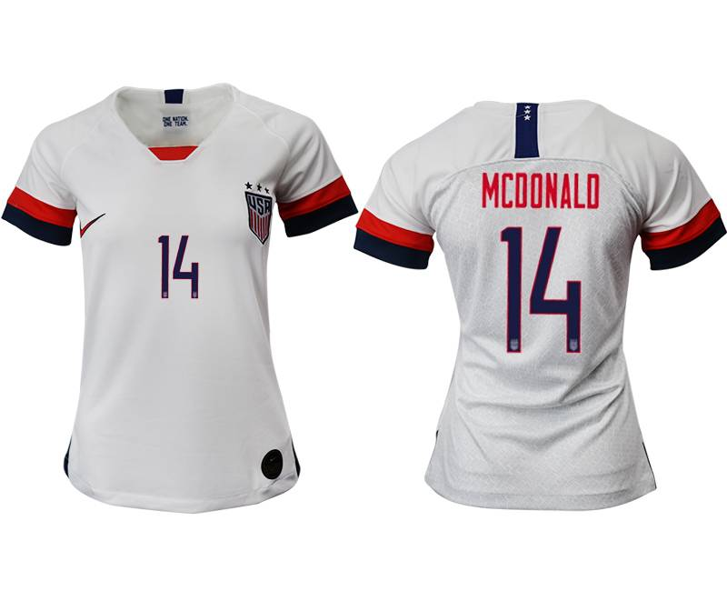 Women 19-20 Soccer Usa National Team #14 Mcdonald White Home Short Sleeve Thailand Jersey