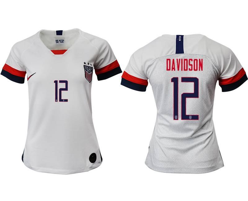 Women 19-20 Soccer Usa National Team #12 Davidson White Home Short Sleeve Thailand Jersey