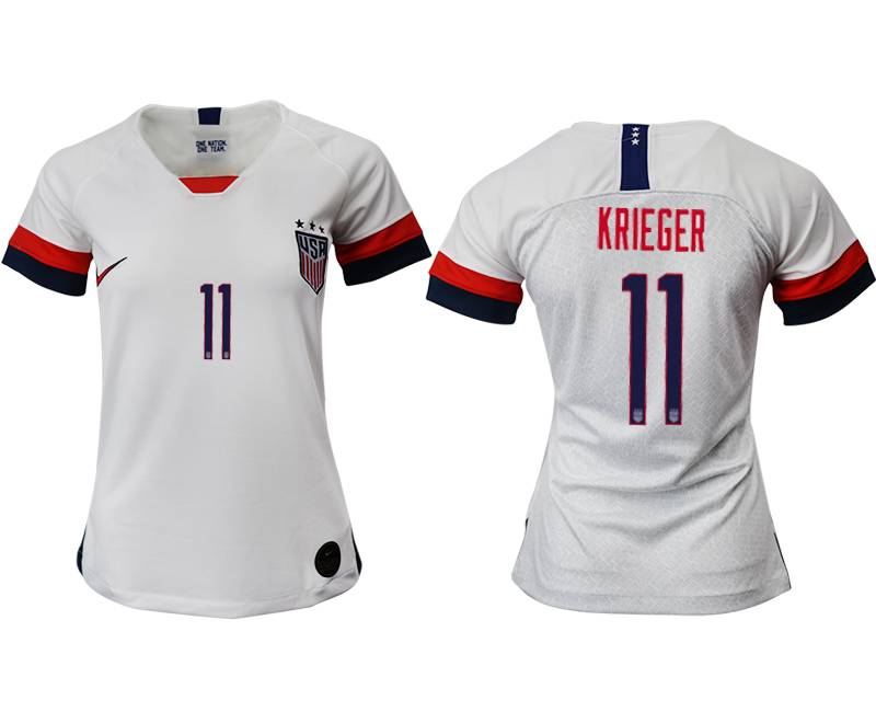 Women 19-20 Soccer Usa National Team #11 Krieger White Home Short Sleeve Thailand Jersey