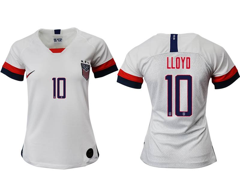 Women 19-20 Soccer Usa National Team #10 Lloyd White Home Short Sleeve Thailand Jersey