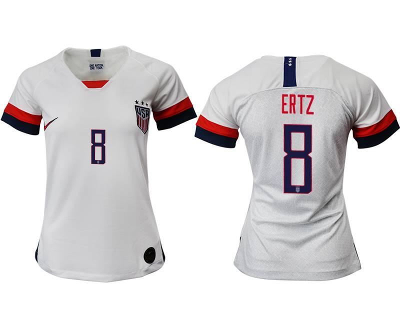 Women 19-20 Soccer Usa National Team #8 Ertz White Home Short Sleeve Thailand Jersey