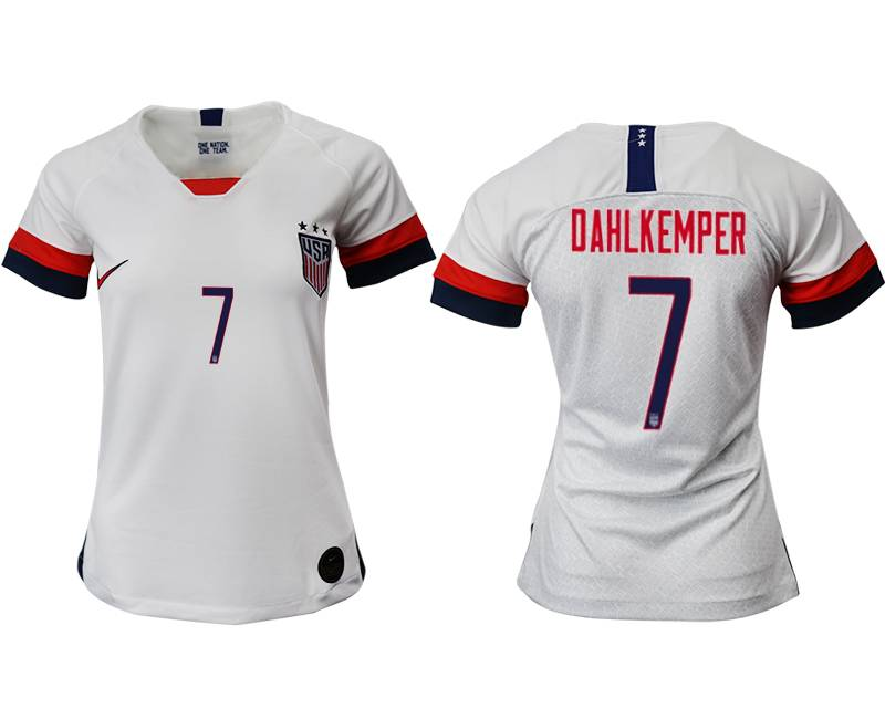 Women 19-20 Soccer Usa National Team #7 Dahlkemper White Home Short Sleeve Thailand Jersey